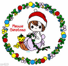 """6"""" PRECIOUS MOMENTS CHRISTMAS GIRL CAT CHARACTER FABRIC APPLIQUE IRON ON"""