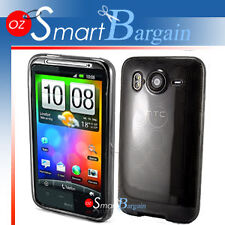 Black Soft Gel TPU Cover Case For HTC Desire HD + Film