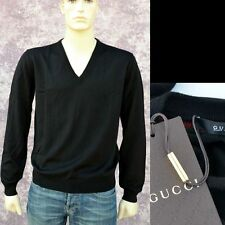 GUCCI New sz M Mens Authentic Wool Designer Web V-Neck Pullover Sweater black