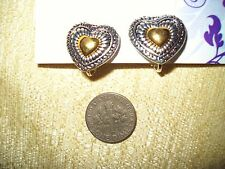 SMALL VINTAGE AVON SILVER/GOLD TONE METAL HEART HUGGIE CLIP-ONS