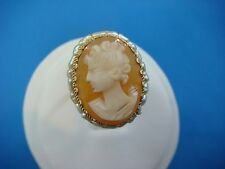 !NICE 14K YELLOW GOLD VINTAGE CAMEO AND HALO PEARLS LADIES RING, SIZE 5