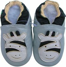shoeszoo zebra silver grey 3-4y S soft sole leather toddler shoes