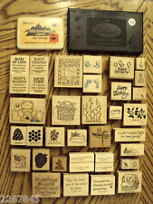 37 Rubber Stamp LOT Stampin Up + Greeting Card Verses Celebration Flowers Bears