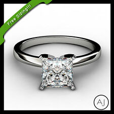 14k Solid White Gold 1ct Princess Cut Solitaire Engagement Ring ON SALE!!!!