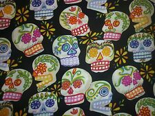CLEARANCE FQ MINI CALAVERAS FLOWER SKULLS  FABRIC SKELETON ALEXANDER HENRY