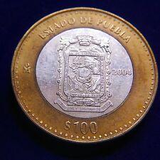 MEXICO 2004 BIMETALLIC COIN 100 PESOS ESTADO DE PUEBLA!!