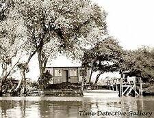Cabin & Dock on Martin's Is., Steamboat Slough, Delta, CA - Historic Photo Print