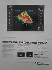 6/1992 PUB ALLIED SIGNAL AEROSPACE BENDIX KING RADAR DISPLAY ORIGINAL AD