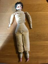 Black haired Antique China Head Doll Wearing Old Pantaloons-pink Painted Shoes