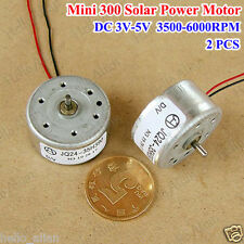2PCS Mini 300 Solar Small Round Motor DC 3V- 5V 3500-6000RPM for Toy CD Player