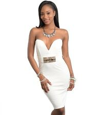 NEW!!! Sz LRG STRAPLESS SWEETHEART DRESS W GOLD BELT/WHITE/ SEXY BODYCON CUTE!!!