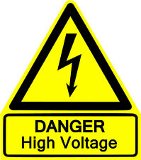 This is a Danger HIGH Voltage sticker or vinyl cut decal, glossy yellow WARNING!
