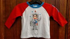 Small Paul By Paul Frank Boys' Long Sleeve Red, White and Blue Robot Top - New