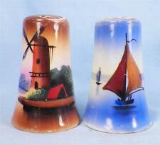 Vintage Salt & Pepper Shakers Sailboat Windmill Hand Paint Japan No Corks