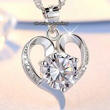 VALENTINES GIFT FOR HER - 925 Silver Crystal Heart Necklace Love Women Jewellery