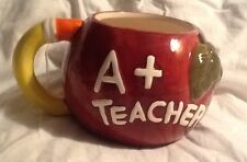 A+ Teacher Red Apple Pencil Handle 3D Ceramic coffee Tea Mug Cup