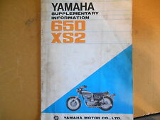 1972 Yamaha 650 XS2 Supplementary Manual