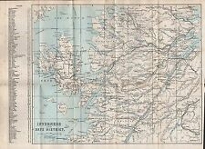 1890 ANTIQUE MAP SCOTLAND INVERNESS AND SKYE DISTRICT NEVIS APPLECROSS ULLAPOOL