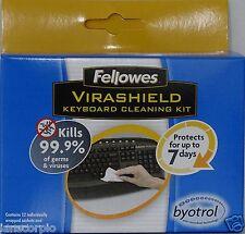 Fellowes teclado virashield Kit de limpieza con Byotrol Eco friendley X2 paquetes