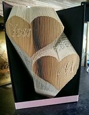 Book folding 'you' and 'me' in hearts. Unique gift Handmade. Book art