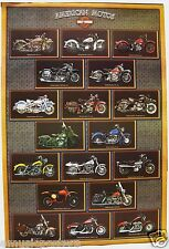 "HARLEY DAVIDSON MOTORCYCLES ""18 CLASSIC MODELS AGAINST A BRICK WALL"" POSTER"