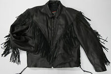 INTERSTATE LEATHER Black Fringe Motorcycle Jacket Womens XXL w/Zip-out Liner
