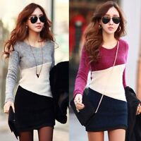 NEW Womens Winter Knitted Bodycon Jumper Sweater Tops Pullover Mini Dress 6-16