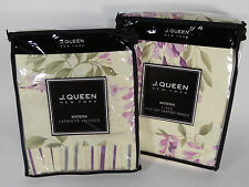 5 PC SET J. QUEEN WISTERIA POLE TOP DRAPERY PANELS TIEBACKS + LAFAYETTE VALANCE