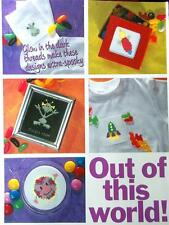 20 Motifs & Alphabets for Halloween & Space, Cards Counted Cross Stitch Patterns