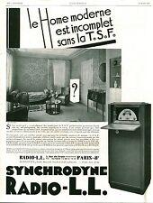 """Publicité Ancienne """" Radio L-L TSF  1929 ( P 37 ) Issu de Magazine"""