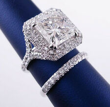 2.23 Ct Princess Cut Diamond Two Halo Split Shank Bridal Ring Set F,VVS1 EGL 14K