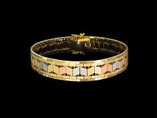 Estate 14k Solid Tri-Color Rose Yellow White Gold Soft Bangle Bracelet 27.3 gr