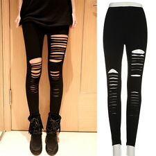 Women Lady Punk Hole Ripped Slit Split Leggings Party Gothic Pants  YX