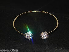 FLEXIBLE WEDDING BRIDAL GOLD W. CLEAR RHINESTONE CRYSTAL BRACELET CUFF