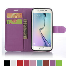 Leather PU Card Wallet Stand Flip Case For SAMSUNG GALAXY S7 EDGE-Purple