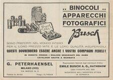 Z1858 Apparecchi Fotografici BUSCH - Pubblicità d'epoca - 1929 Old advertising