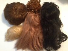 VINTAGE PORCELAIN Vinyl Reborn Doll hair Wig Cap Lot 5 Pcs Parts wigs