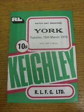 13/03/1979 Rugby League Programme: Keighley v York  . Condition: We aspire to in