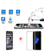 Ultra Thin Slim Clear Gel Case +Tempered Glass Screen Protector For iPhone 7Plus