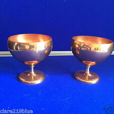 Preloved Vintage Pair Copper & Brass Round Goblet Vase Footed Display Flowers