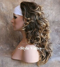 GORGEOUS! Brown Blonde 3/4 Fall Half Wig Hairpiece Long Wavy Fall Hair Piece
