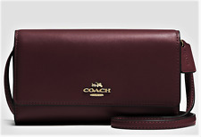 NWT COACH Smooth Leather Wallet/ Phone Crossbody in Oxblood/Gold