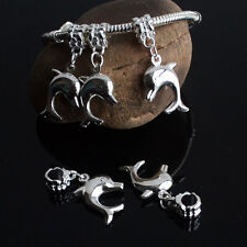 Hot 10PCS Silver Plated Dangle Dolphin Charms Loose Beads Fit European Bracelets