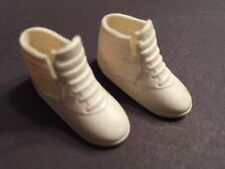 Vintage Barbie Doll Sized Tennis Shoes White Sneakers HTF! Soft Rubber rare toy*