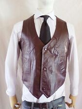 WINCHESTER LEATHER burgundy cowboy western waistcoat vest 42 LARGE