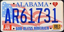 "ALABAMA "" GOD BLESS AMERICA - FLAG "" HEART OF DIXIE AL Graphic License Plate"