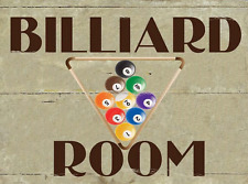 Billiard Room Metal Sign, Game Room, Den, Man Cave, Rack, Pool Ball