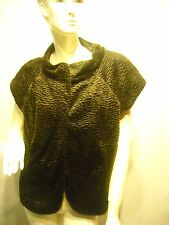 Josephine dark brown furry textured cap sleeve vest $119 size 10 New With Tags