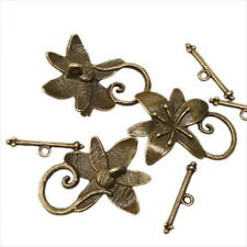 30x Vintage Flower Bronze Toggle Clasp Findings 160422