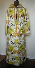 VINTAGE 1960s 70's GOLD FLORAL QUILTED HOSTESS GOWN ROBE MATCHING PANTS SET M